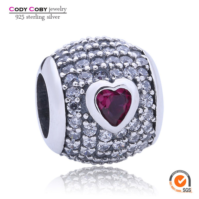 925 Bola de Prata Pave Charme Clear & Red Crystal Coração de Pedra Natural Bead Fit Pulseira Pandora Original Para As Mulheres jóias