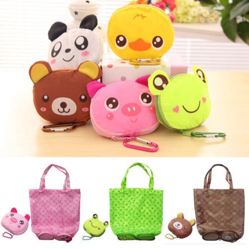 Cute Travel Folding Handbag Grocery Tote Storage Reusable Animal Shopping Bags