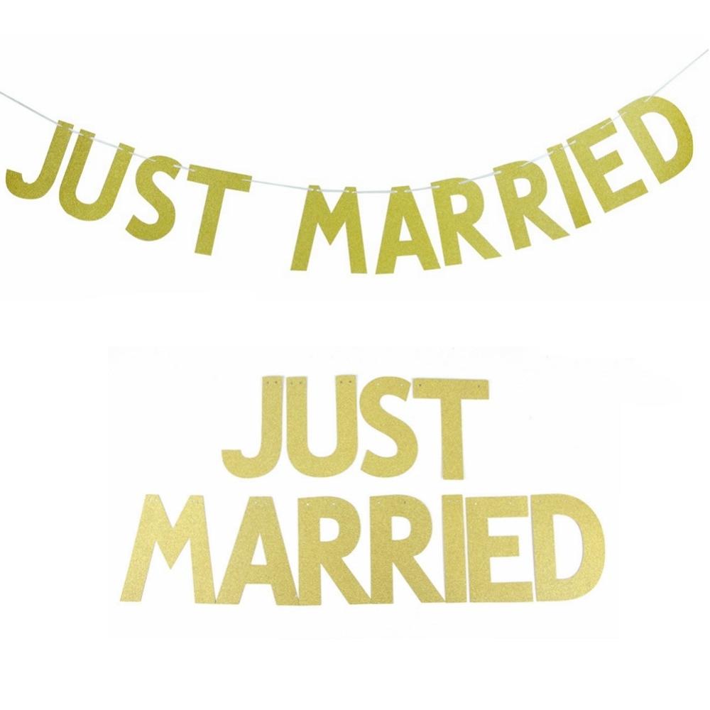 Gold Glitter Wedding Banner JUST MARRIED Banner Letter Banner Wedding Sign Wall Decor Bridal Shower Wedding Party Decoration