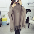 2017 New Spring Autumn Winter Women Sweater Ladies Tassels Poncho Long Knitted Pullovers Knitted Cape Coat JX1208