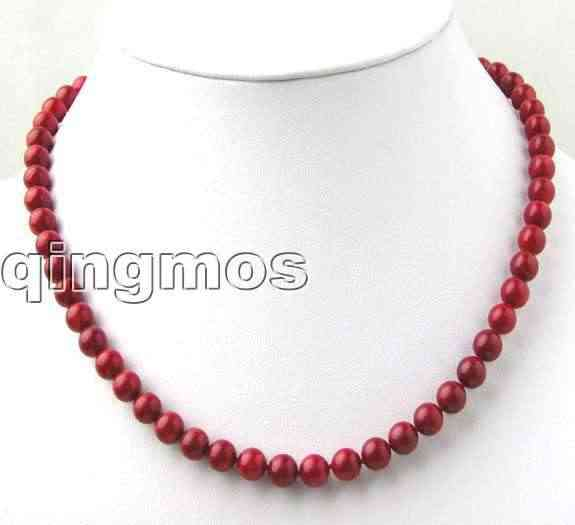 "SALE 6-7mm High quality Round Red Natural Coral 17"" Necklace-nec7013 Wholesale/retail Free shipping"