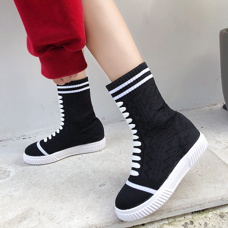 Extensible Haute Nouveau Automne À Appartements Femmes Zapatos Chaussette Tige Plate Tissu Respirant forme Lace Noir up Tricoter Mujer Chaussures TcKlF1J