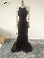 Heißer Verkauf Schöne Frauen Kleid Gefrieste Langes Abendkleid O ansatz Beiläufiges Party Vestidos Volle Sleves Kleid SL-E156