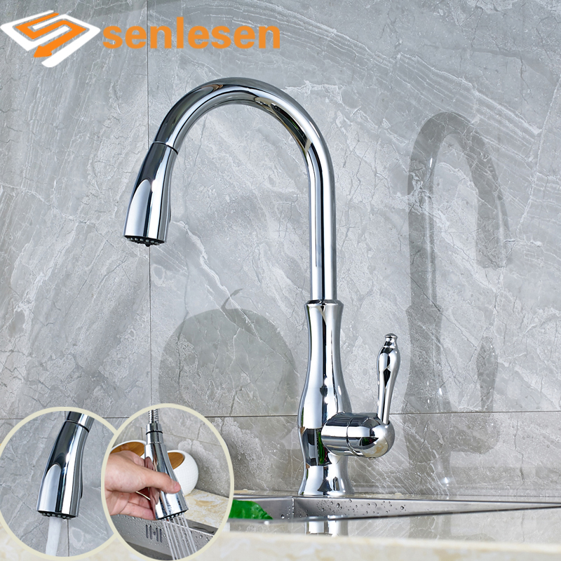 Wholesale and Retail Kitchen Sink Mixer Faucet with Pull Out Sprayer Chrome Finish Dual Functions good quality wholesale and retail chrome finished pull out spring kitchen faucet swivel spout vessel sink mixer tap lk 9907