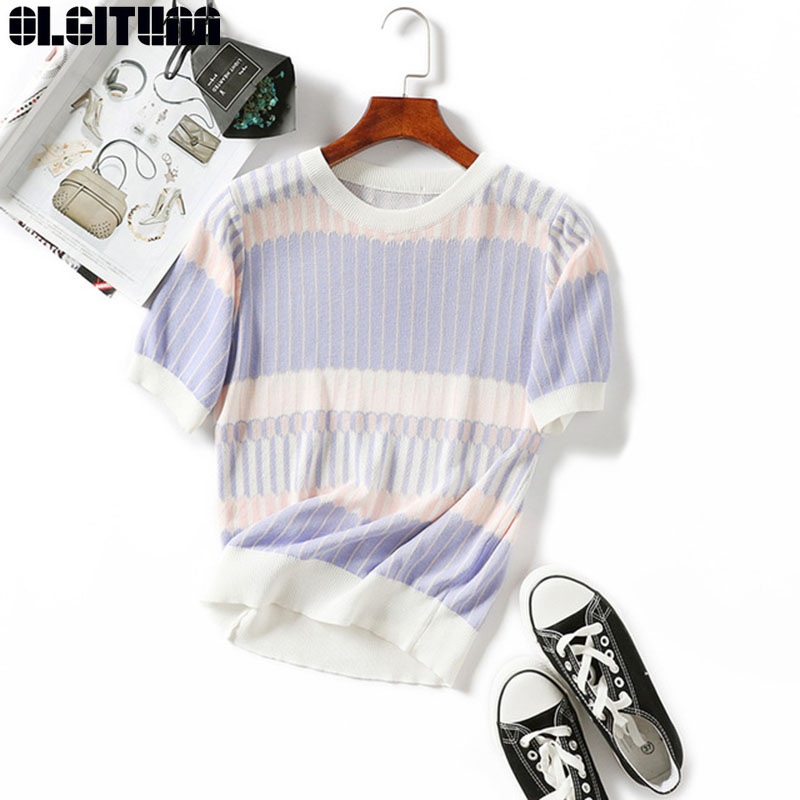 OLGITUM New Summer T Shirt Women Knitted Short Sleeves Tee Shirt High Elasticity Breathable Top Female Patchwork Tshirt TT442