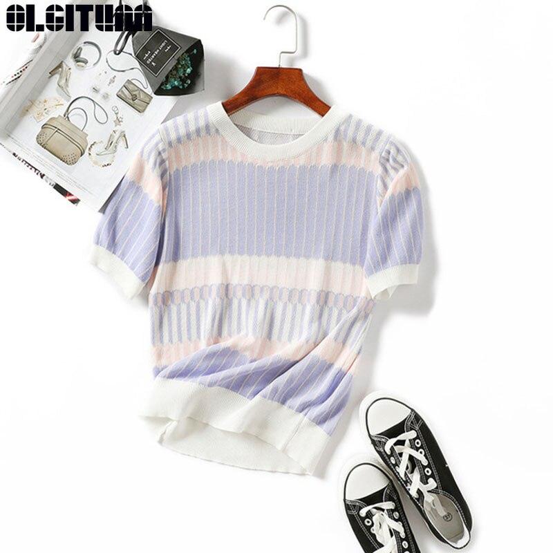 OLGITUM New Summer T Shirt Women Knitted Short Sleeves Tee Shirt High Elasticity Breathable Top Female Patchwork Tshirt TT442