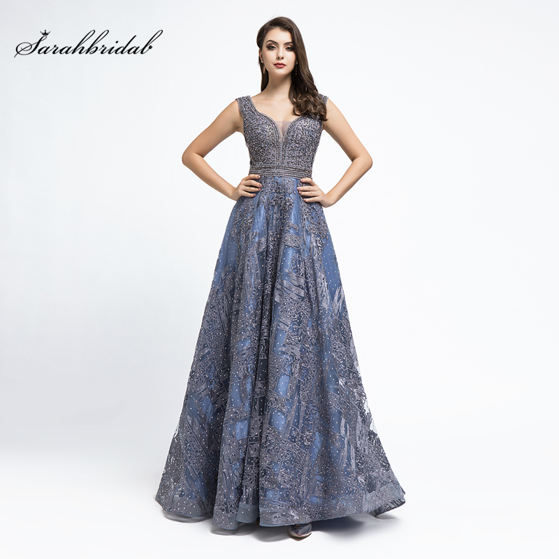 In Stock Real Photos New Arrivals Luxurious Sexy A Line Formal   Evening     Dresses   Steel Blue Crystal Beaded Robe De Soiree WT5487