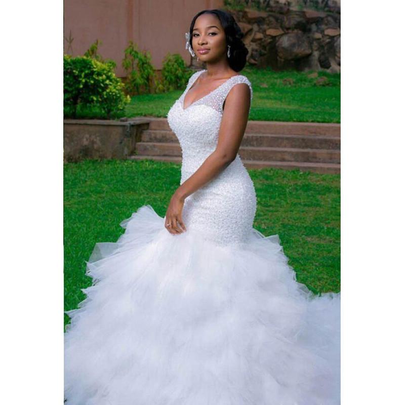 2016 Major Beading Arabic Style Wedding Dresses Deep V Neck Mermaid Wedding  GownsChapel Train Corset Back 4532dd59f559