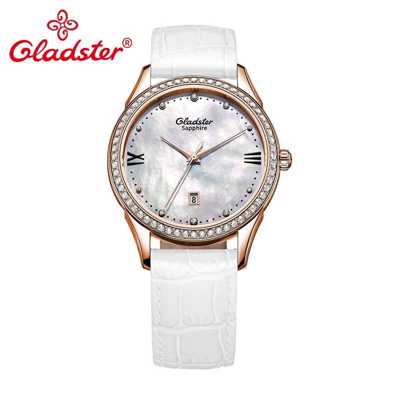 Gladster ญี่ปุ่น MIYOTA 1M12 Gold Ladies นาฬิกา Shell Dial ผู้หญิงนาฬิกาควอตซ์ Sapphire คริสตัลนาฬิกาข้อมือหญิง-ใน นาฬิกาข้อมือสตรี จาก นาฬิกาข้อมือ บน   2