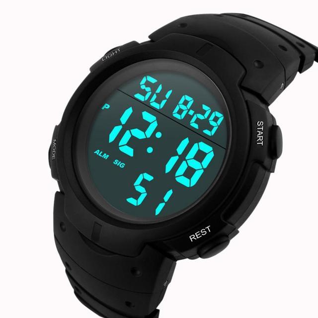 ea25b1f41ff9 Moda hombres impermeables de los hombres reloj LCD Digital cronómetro fecha  correa de caucho de silicona