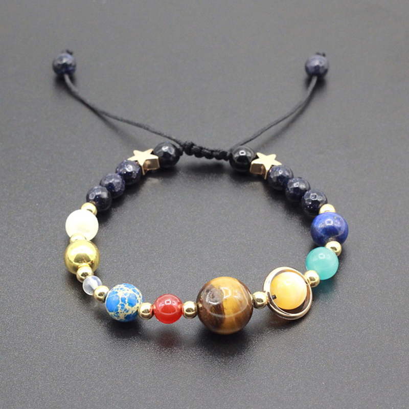 Adjustable Stone Beads Bracelet Universe Galaxy Eight Planets in the Solar System Guardian Star Bracelets &Bangle for Women Men