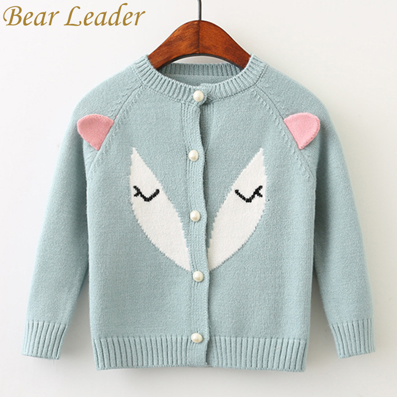 Bear Leader Girls Sweater 2017 New Autumn Winter Pullover Long Sleeve Cotton Fox 3D Ears Sweater For Children Knitted Sweater