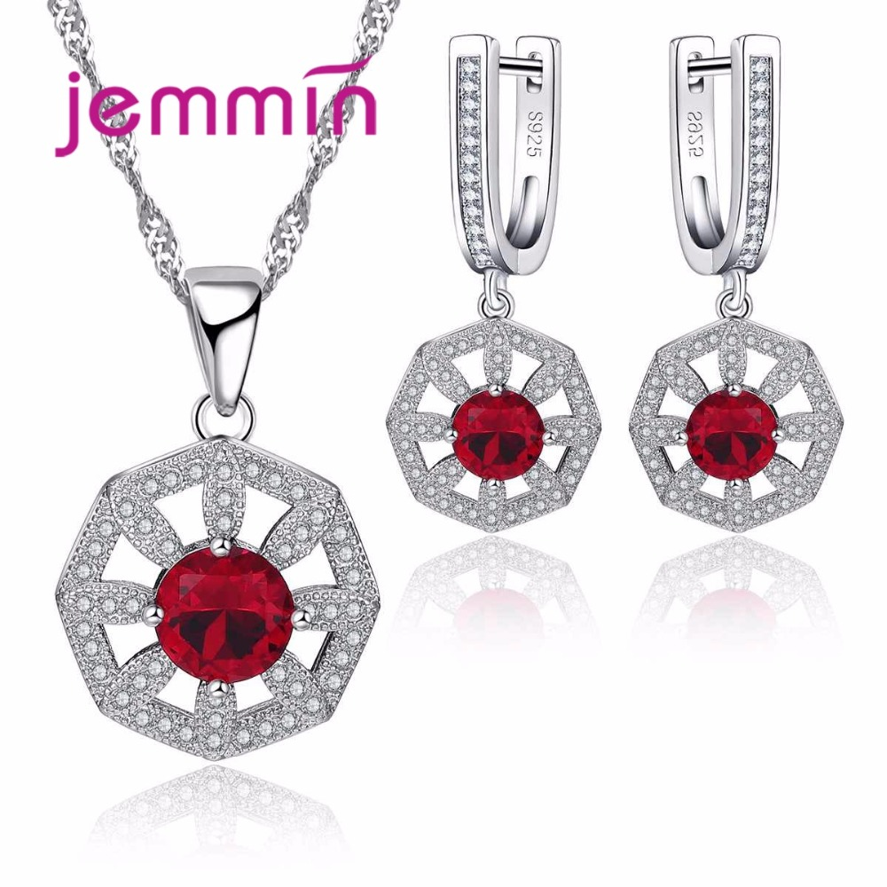Hot Ruby Wedding Jewelry Sets For Women Crystal 925 Sterling Silver Necklaces Earring Set Wedding Engagement Accessories