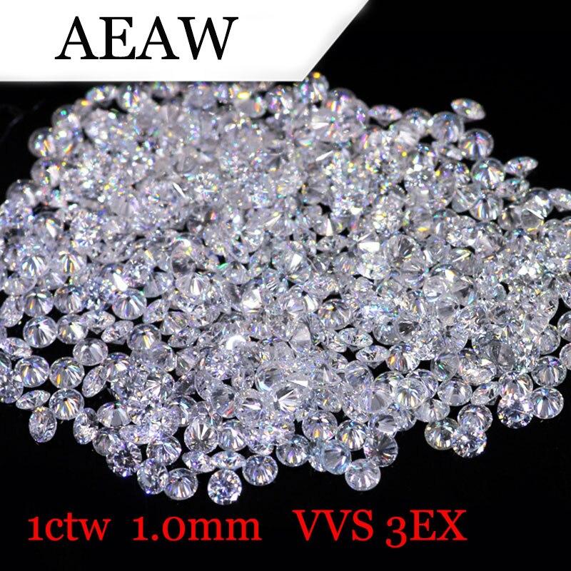 AEAW 1,0 мм всего 1 БКМ карат DF Цвет Сертифицированные лаборатории Муассанит Diamond Loose бисера Тесты положительный