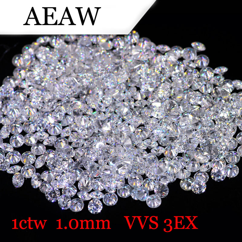 AEAW 1.0mm Total 1 CTW carat DF Color Certified Lab Moissanite Diamond Loose Bead Test Positive genuine14k 585 white gold push back 1carat ctw test positive lab grown moissanite diamond earrings for women