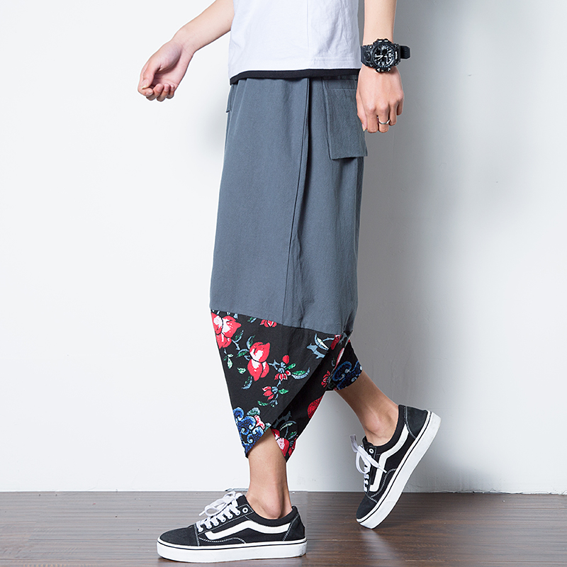 Chinese Traditional Style Cotton Linen Casual Harem Men Pants Tiger Printed Elastic Waist Loose Men Trousers Size M-5XL