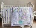 7 Peças Bordado luz azul flores Do Bebê da borboleta Jogo de Cama Saia da Cama Berço Cama Conjunto Quilt Bumper Capa de Colchão