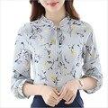 2017 новые женские блузки рубашки элегантные дамы шифон блузка весна осень с длинным рукавом цветочный печати женщины Топы blusas mujer