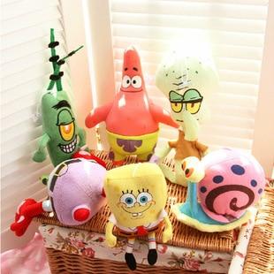 6PCS Spongebob Set Stuffed Plush Sponge Bob/Patrick/Crab/Plankton/Octopus/Snail Dolls Kids Toys Best Brinquedos For Children