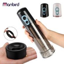 Manbird Penis Enlargement Pump Vibrator for Men Electric Penile Enlarger Extension Training Extend Sex Toys Shop Adult Products