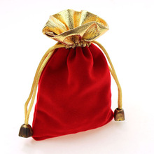 7*9cm 10pcs crimson Phnom Penh velvet baggage for jewellery pouch reward bag package deal with drawstrings bag marriage ceremony diy girls Show