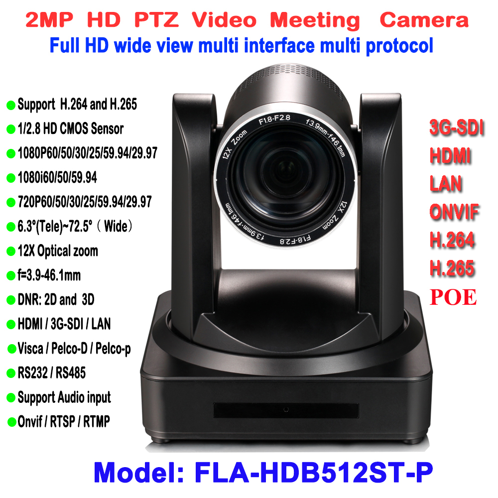Cor preta Interior Pan tilt zoom Óptico de 12x IP POE Câmera 1080 p 60fps com Saída Simultânea HDMI 3G-SDI