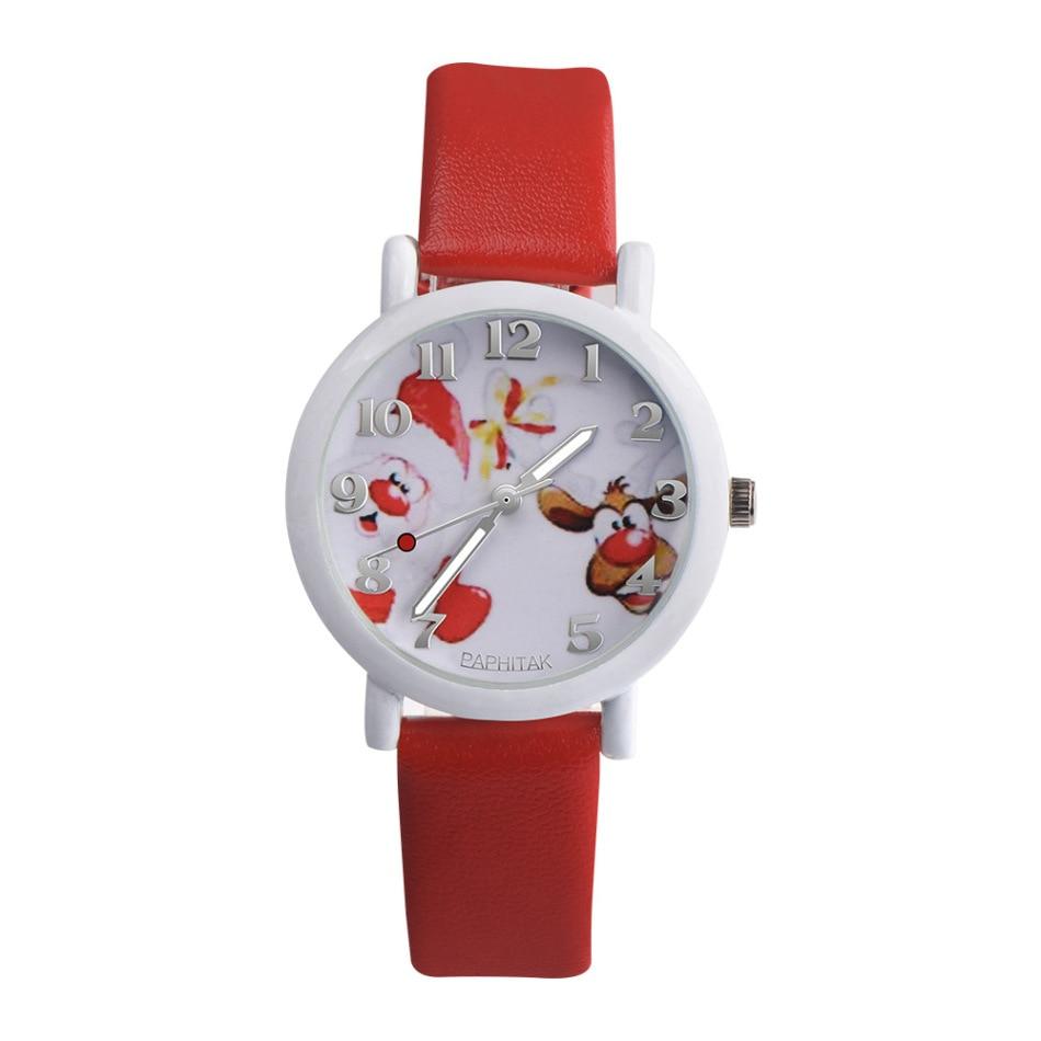 Red/Black/Pink/Green Santa Elk Quartz Watch Fashion Digital Children's Watch Cute Durable Clock Gift For Children
