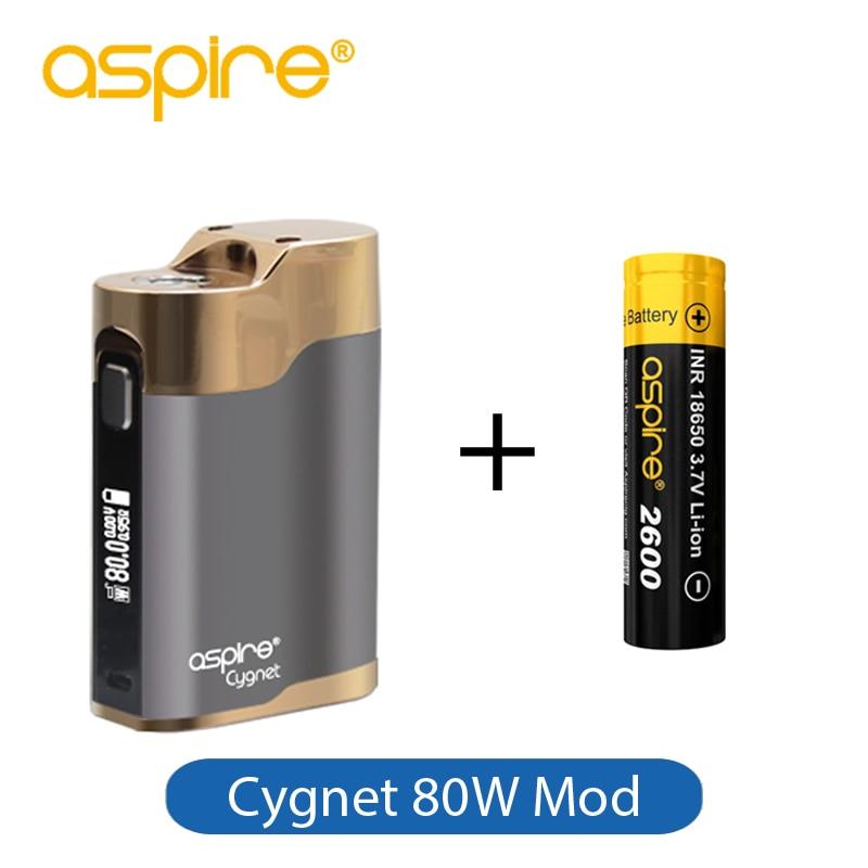 Original Vaporizer Box Mod Aspire Cygnet 80W Mod with Electronic Cigarette Single 18650 Battery 2600mAh Included