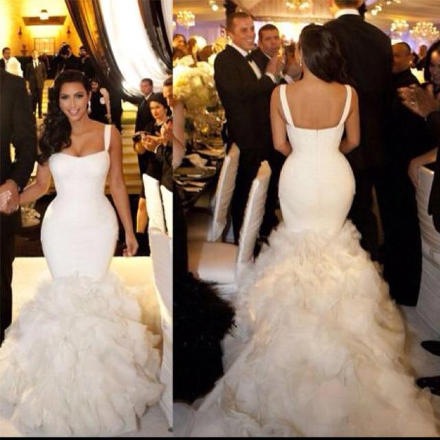Y Kim Kardashian Wedding Dress White Ruffles Lace Organza Backless Women Mermaid Dresses Bridal Gown