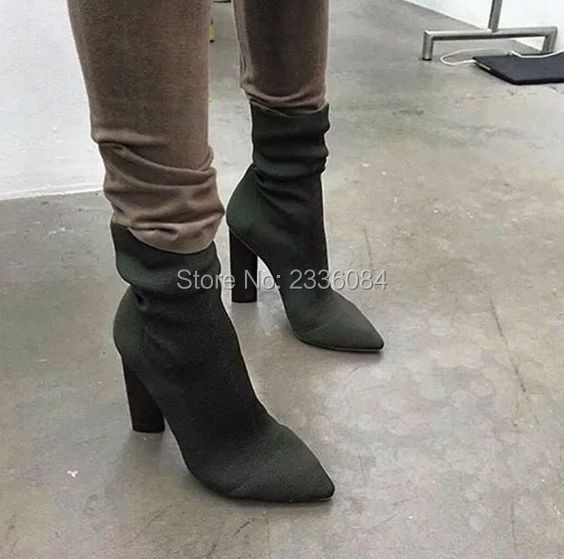 2017 New Arrival Fashion Calf-high Green/Beige Knit Low Boots Celebrity Style Stretch Fabric Slip On Pointed Toe Elastic Shoes