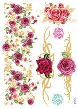 VT365 21X15cm Gold Golden Big Tattoo Stickers Colorful Flowers Rose Pattern Flash Tattoos Glitter Temporary Tattoo Taty