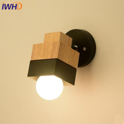 IWHD Nordic Wooden LED Wall Lights Creative Modern Wall Lamp Iron Bedside Sconces Fixtures For Home Lighting Arandela Luminaire modern nordic bird wall lamp modern led wall light fixtures for bedroom bedside led wall mounted sconces home lighting lampara page 1