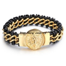 Men Genuine Leather Bracelet&Bangle Black Color Leather Stainless Steel Gold Clasp Bracelets Bangles for Men Jewelry