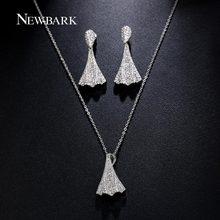 NEWBARK Jewelry Sets For Women 1 Pair Leaf Dangle Earring 1 Pcs Skirt Necklace Cubic Zircon Jewelry Parure Bijoux Femme