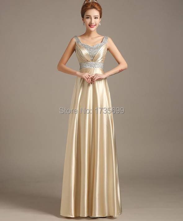 Long Gold Chiffon Dress