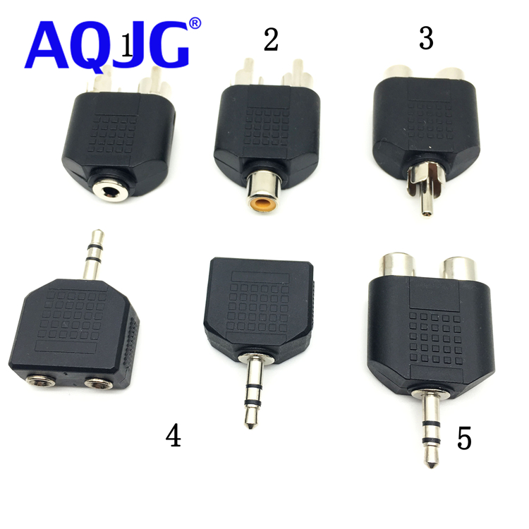 1pcs Shielded 3.5mm To RCA Stereo Female Jack Plug Adapter Headphone Y Audio Adapter Rca Female To 2RCA Male Audio Connector