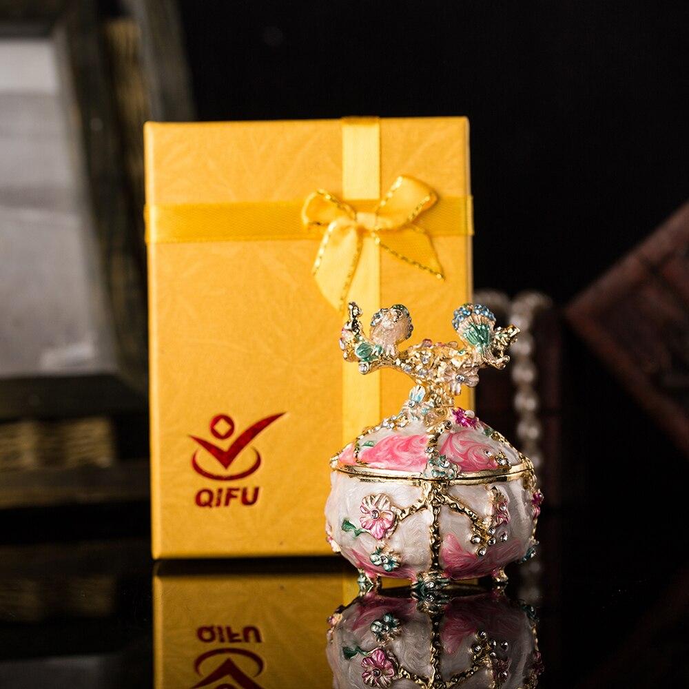 Купить с кэшбэком Qifu Handicraft Colourful Metal Jewelry Trinket box