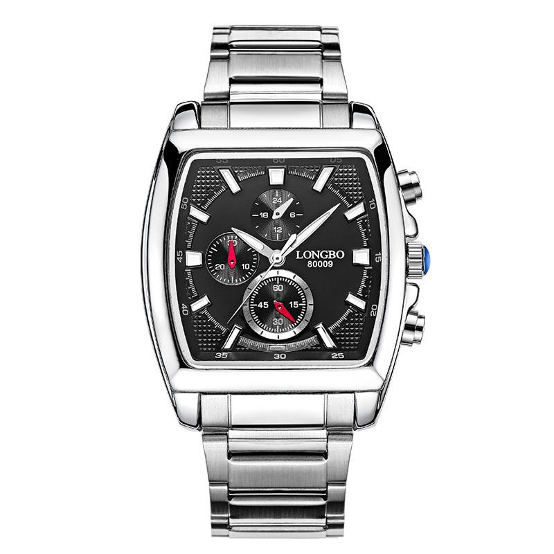 Men Watches Quartz Military Sports Square Stainless Steel Strap Wristwatch Men Male Clock