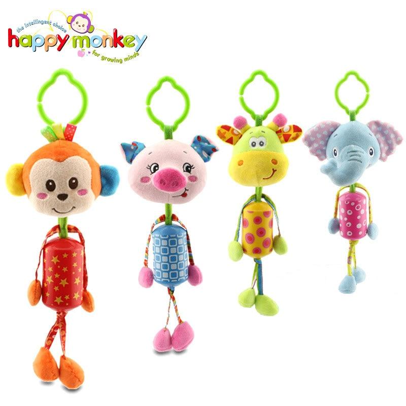 Happymonkey Brand New Cartoon Animal Plush Mobile Baby Kids Rattles Toys Bed hanging Campanula