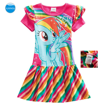 JUXINSU My Baby Girl New Summer Little Pony Short Sleeve Dresses Cartoon Cotton Rainbow Stripes for 1-8 Years