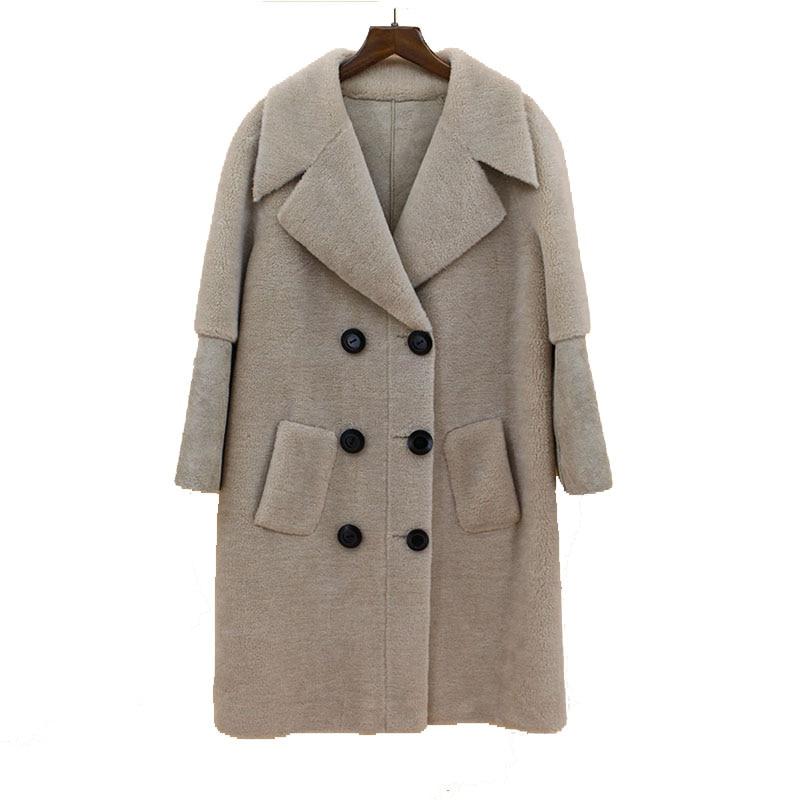 2018 nuove donne di arrivo di pecora naturale cappotto di pelliccia grande formato girare giù il collare di modo della signora elegante outwear giacche fodera in pelle cappotto