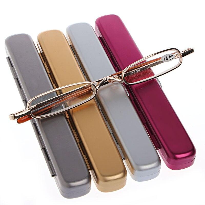 1 Pc Mini Portatile In Metallo Full Frame Occhiali Da Lettura Occhiali + 1.00 A + 4.00