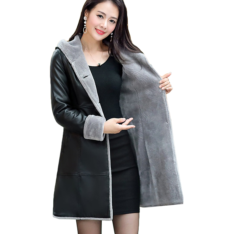 Female Winter New Plus Velvet Plus size 6XL   Leather   Coat Women Fashion Slim Long Hooded   Leather   Women Single breasted   Leather