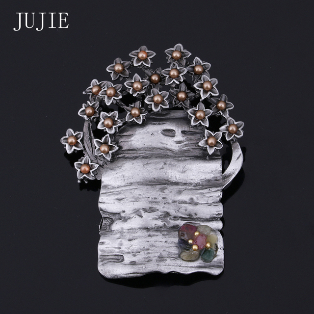 JUJIE Tree Brooches For Women 2017 Vintage Wedding Brooch Pin Unique Nature Stone Tree Brooch Pins Scarves Buckle Plant Jewelry