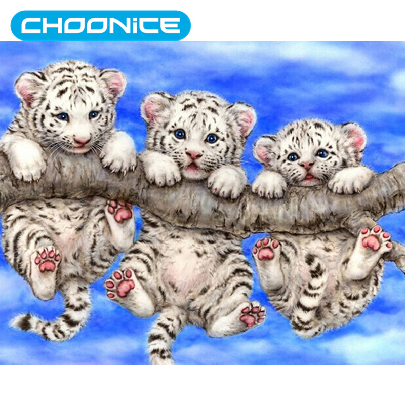 Tiger Diamond Painting Three White Young Tiger DIY 3D Diamond Embroidery Trunk Birch For ...