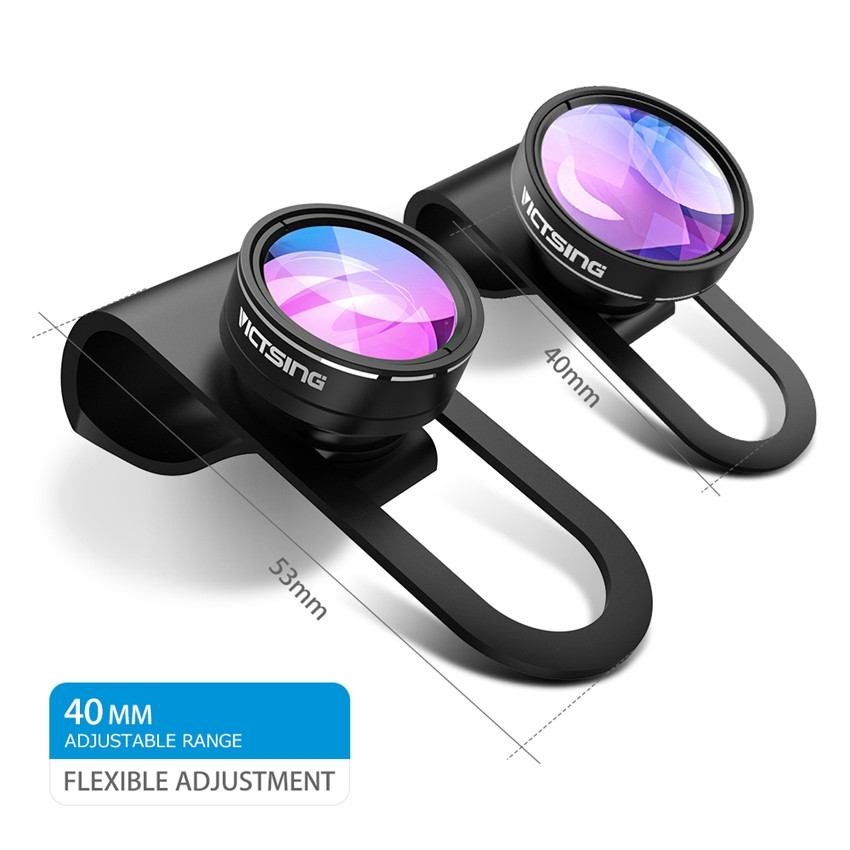 VICTSING 3-in-1 Phone Camera Lens Kit Aluminum Clip-On 180 Degree Fisheye Lens + 0.65X Wide Angle + 10X Macro Lens For iPhone 10
