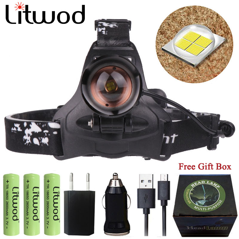 Litwod Z12 cree XHP70 Headlight powerful Led Headlamp Q5 chip Built-in Rechargeable power bank Head lamp Flashlight torch light cree q5 led frontal headlamp headlight head flashlight 1000 meter rechargeable head lamp torch built in battery ac car charger