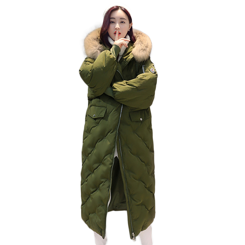 Long Parka Women Winter Jacket Plus Size 2017 New Down Cotton Padded Coat Fur Collar Hooded Solid Thicken Warm Overcoat QW701 women winter coat jacket 2017 hooded fur collar plus size warm down cotton coat thicke solid color cotton outerwear parka wa892