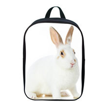 2017 New Oxford 12 Inches Printing Animal Small White Rabbit Kids School Bags for Baby Boys Mini Backpacks Children Schoolbag(China)