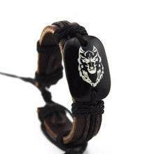 Gaxybb wolf head mens leather bracelet classic carving resin hand